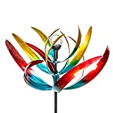 Primrose Bird of Paradise Wind Spinner with Solar Crackle Globe W65cm