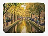Soefipok Alfombra de baño de Ámsterdam, Puente sobre el Canal en la Capital de Holanda con árboles, Bicicletas, decoración de baño de Felpa con Respaldo Antideslizante