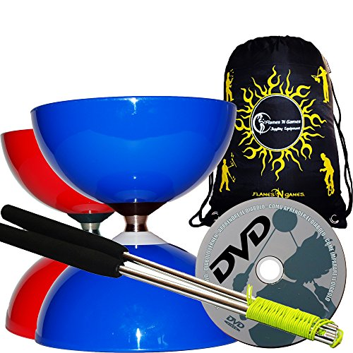 Big Top Jumbo Kugellager Diabolo Set (Freiläufer Diabolo) + Diablo Alu Handstäbe, Diaboloschnur + Lern Diabolo DVD & Reisetasche! (Blau / Blue)