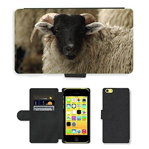 Just Mobile pour Hot Style Téléphone portable étui portefeuille en cuir PU avec fente pour carte//m00138408Mouton schafkopf Flock de Sheep Animal//Apple iPhone 5C