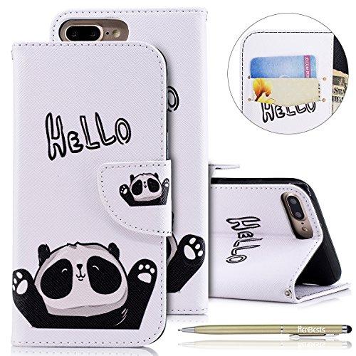 Herbests Kompatibel mit Leder Hülle iPhone 8 Plus/iPhone 7 Plus Handytasche Handyhülle Niedlich Bunt Muster Bookstyle Flip Case Cover Lederhülle Leder Tasche Etui Klapphülle Dünn Tasche,Panda