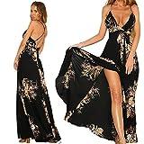 abiti in chiffon per le donne con scollo av profondo sexy diviso vita alta croce cinghia di spaghetti stampa floreale nero abiti da sole abito bohemien