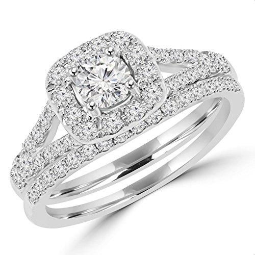 1 CTW Round Diamond Halo Engagement Ring Bridal Wedding Band Set in 14K White Gold (MDR150045)