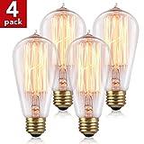 costway 4x 60W Retro Leuchtmittel ST64Glühlampe E27Vintage Antik Stil Edison Eichhörnchen Käfig Licht