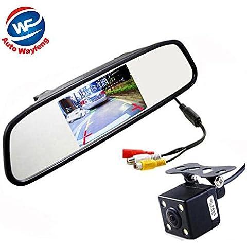 Auto Wayfeng® de coches de vídeo HD el aparcamiento del monitor, LED de visión nocturna que invierte la opinión posterior del coche del CCD de la cámara con 4,3 pulgadas de coches Espejo retrovisor