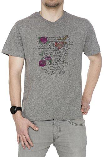 Only Love Uomo V-Collo T-shirt Grigio Cotone Maniche Corte Grey Men's V-neck T-shirt