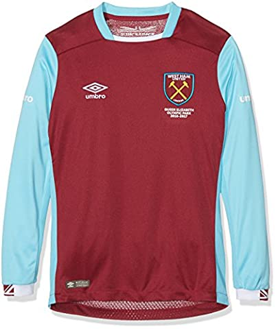 Umbro Jungen West Ham Home Long Sleeve Replica Jersey, mehrfarbig, Youth/Small