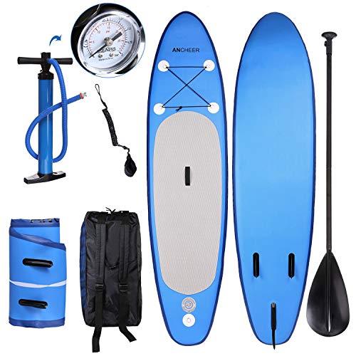 YUEBO 305cm Aufblasbares Sup Stand-up Paddel Board 15cm Dick, iSUP Paddle Board mit Pumpe + 3-TLG verstellbares Paddle + Fuß Spuleleine + Großer Rucksack (DA01_blau_305 x 76 x 15cm) -