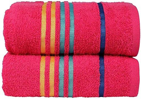 Casa Copenhagen Exotic Kollektion 475 g/m² Mittelgroß (60cm x 120cm) Baumwolle 2 teiliges Badetücher Set, Hot Rosa