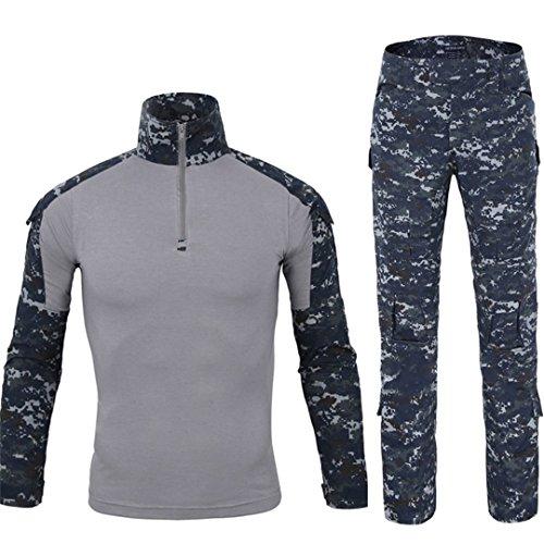 QCHENG Taktisches Hemd Militärhemd und Hose Airsoft Männer Langarm BDU Combat Camouflage Camo Kampf T-Shirt für Tactical Paintball Uniform Armee (Navy blau L) -