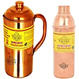 [Sponsored]Taluka Plain Copper Jug Pitcher 1500 Ml With 1 PC 800 ML Water Bottle Storage Drinking | Home Hotel Tableware Pack Of 2