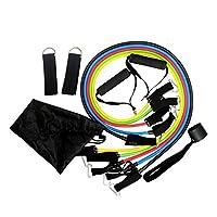 مجموعة أربطة مقاومة اللاتكس من كروس فيت للتدريب على تمارين اليوغا مكونة من 11 قطعة، حبل مضفر، أربطة من المطاط الموسع، مع حقيبة مرنة