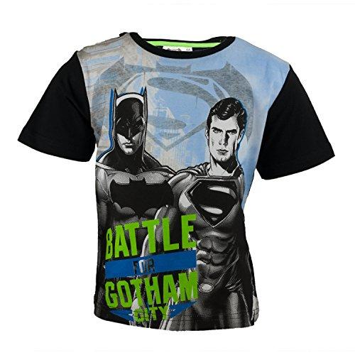 DC Comics Batman Kinder T-Shirt aus 100% Jersey Baumwolle, Justice League Superhelden Kurzarm Shirt für Jungen - Tshirt Farbe: Schwarz, Gr. 140