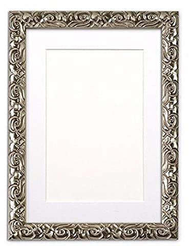 Mounted Antique Cushion Ornate Swept Photo frame/picture frame/poster frame with bespoke Mount - With a High Clarity Styrene Shatterproof Perspex Sheet - Moulding measures 26mm wide and 23mm deep - Silver Frame with White Mount- A2 for A3