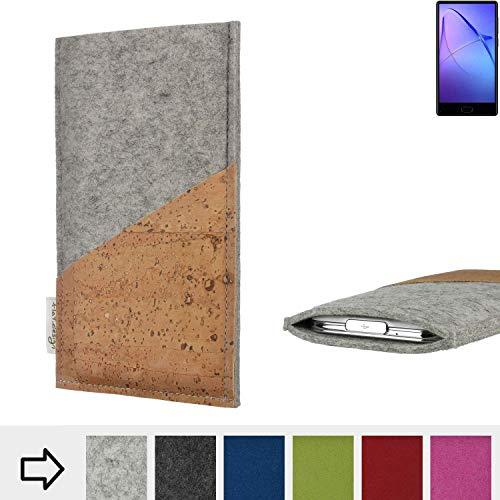 flat.design Handytasche Evora mit Korktasche für Bluboo S1 - Schutz Case Etui Filz Made in Germany in hellgrau mit Korkstoff - passgenaue Handy Hülle für Bluboo S1