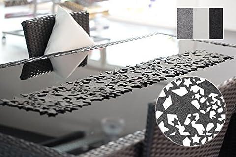 Tischläufer Sternenhimmel Tischband aus edlem Filz ca. 24x140cm abwaschbar Sterne Stars (Grau)