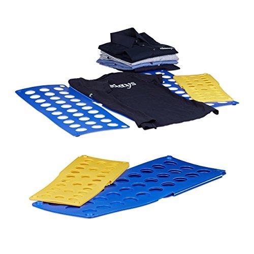 4x Faltbrett Wäsche, Wäschefalter, Hemdenfalter, Falthilfe, Faltsystem, klein, groß, platzsparend, A4, A5, blau, gelb