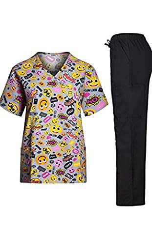 MedPro Women's Medical Scrub Set Emoji Print Wrap Top and Cargo Pants Multicolored S (9003-1051GR)
