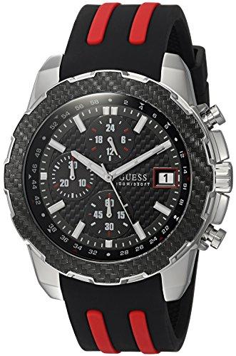 Guess orologio da uomo, colore: Nero, modello: acciaio INOX casual silicone U1047G1)