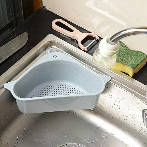 ZYBB Küchen-Mehrzweckkorb Schwammaufbewahrungsbox Spülenablauf Aufbewahrungsbox Mit Saugnapf-Küchenregal Entwässerung 26×10×14.2CM/ blau -