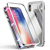 Funda para iPhone X, ZHIKE Funda de Adsorción Magnética Súper Delgada Marco de Metal de Vidrio...