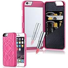 Cadorabo - Hard Cover Protección para Apple iPhone 6 / 6S / 6G - Case Cover Funda Protectora Carcasa Dura Hard Case con Motivos, Espejo y 3 Compartimientos para Carteras en PINK