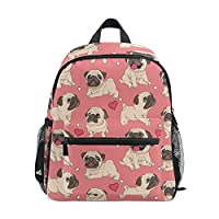 Cute Dog Pug Pattern Backpack for Kids School Travel Girls Boys Bookbag Children Backpacks, Pink