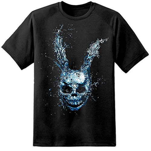 Frank Rabbit Head Sparkle Motion Halloween Mask Horror Film Men's Fashion Crew Neck Short Sleeves Cotton Tops Clothing, Black ()