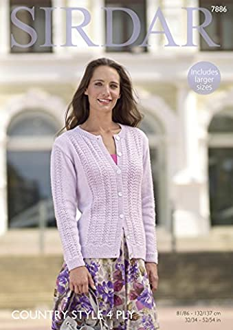 Sirdar 7886 Knitting Pattern Womens Cardigan in Sirdar Country Style 4 Ply