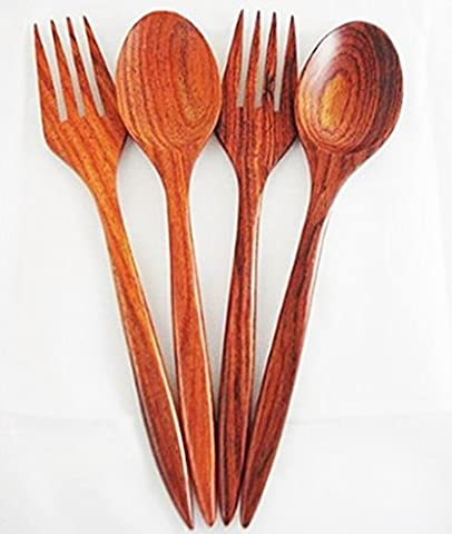 Set of 2 x 7 Inch Wooden Dinner Spoons and