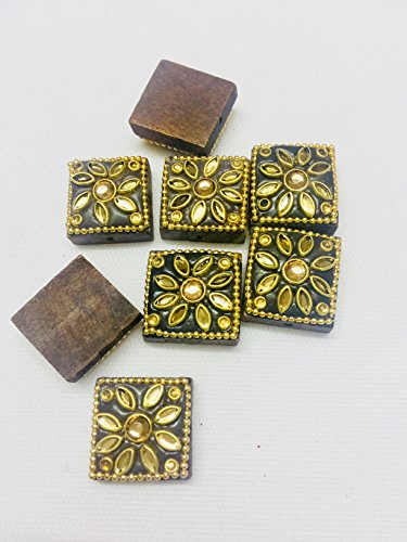 3 Pieces of Wood Buttons Beautifully Crafted with Stone for Kurtis Ethnic Dresses Indo Western Tops Growns Blouses