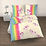 EINHORN Fein Biber Mädchen Bettwäsche ❤ SWEET RAINBOW UNICORN ❤ Regenbogen Farben Vanille, Rosa, Pink - Kissenbezug 80x80 + Bettbezug 135x200 cm - hergestellt in Deutschland