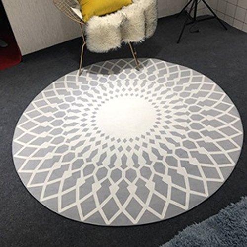 tapis Nordic mode noir et blanc salon table basse grand tapis chambre étude ronde tapis tapis ( taille : 90cm )