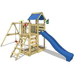 WICKEY Torre de escalada MultiFlyer Parque infantil jardín con columpio, tobogán y muro para trepar, tobogán azul + lona azul