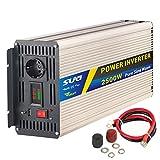 SUG 2500W Spitzenwert 5000W Reiner Sinus Spannungswandler Wechselrichter DC 12V auf AC 220V 230V für Klimaanlage, Mikrowelle, Kaffeemaschinen, Staubsauger, Elektrowerkzeuge