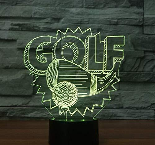3D Illusion Nachtlampe, LED Nachtlicht,7 Farben ändern Touch Switch Schreibtisch Lampen ,Kinder Geburtstagsgeschenk und Party Dekoration(Golf)