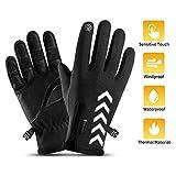 Fahrradhandschuhe , Touchscreen Outdoor Wasserdicht Winddicht Wärmereflexion Kennzeichnung Anti-Rutsch-Vollfinger-Handschuhe Winter Skifahren Klettern Wandern Sporthandschuhe für Männer(XXL(10-12in))