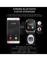 SHAOLIN Bluetooth Smart Uhr Watch mit SIM Kartenslot Schrittzähler Schlafanalyse Kalorienz?hler SMS Anrufe Reminder Facebook Handy-Uhr für Android & Iphone Smartphones(Blue)