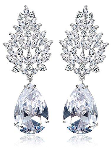 Peora Silver Plated Genuine AAA Swiss Zircon Drops & Danglers Earring For Women Girls