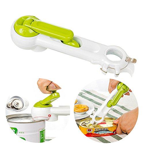 Travelmall 6-in-1 Multi-funktioneller und händischer Dosenöffner, kreativ stark und sicherer Flaschenöffner Manuell und sicher. Glatte Ecke ohne scharfen Schnitt (grün)