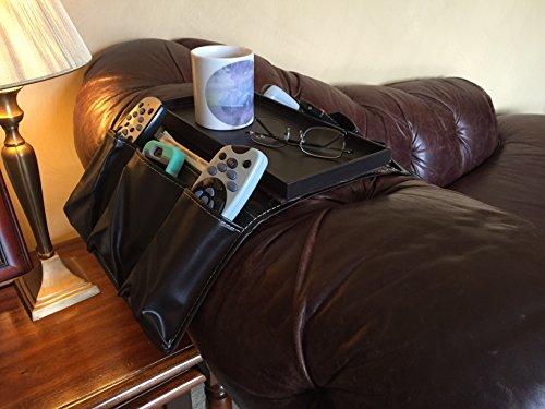 Braun Kunstleder TV Fernbedienung Halterung Organizer mit 8Taschen und Getränkehalter. Passt über Stühle, Sofas Sessel mit 15–19cm Breit Arm