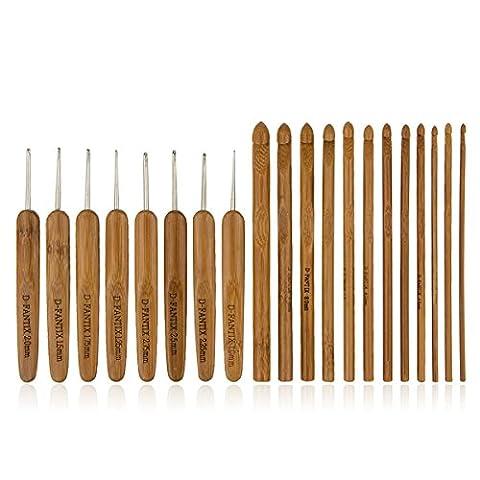 d-fantix Lot de 20aiguilles à tricoter Crochet en bambou tricot Craft Set avec housse de transport compact