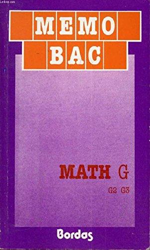 Maths, terminales G, G2, G3