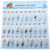 SODIAL (R) 30 X metallo misti Spinners Pesca Esche luccio salmone Bass trota Pesce Ganci