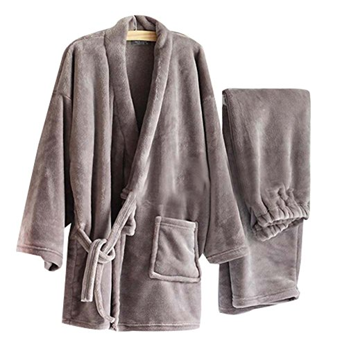 Warm Flanell Herren Kimono Pyjamas Khan Gedämpft Kleidung, Grau (Pjs Herren Flanell)