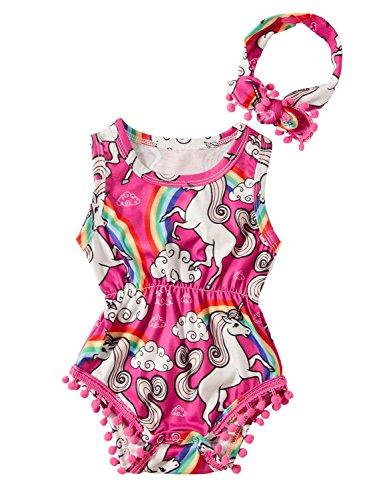 chicolife Neugeborenen Säugling Baby Mädchen Tier Print Einhorn ärmellose Romper Sommer Body Overall Outfits mit Stirnband 12-18 (Baby Tier Outfit)