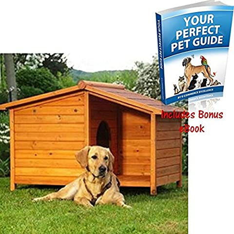 Wooden Dog Kennel. Sturdy and Attractive Outdoor Wood Dog Kennel & Sheltered Patio Make For a Special Home For Your Pet. (Large)
