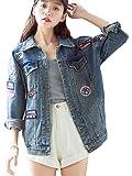 Blansdi Damen Mädchen Frauen Herbst Beiläufig Stilvoll Bestickt Abzeichen Gewaschene Lose BF Jeans Denim Loch Jeansjacke Jacket Oberbekleidung Mantel Coat