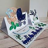 A5 personalisierte Glückwunschkarte Babykarte Geburtskarte Grußkarte Glückwunsch zur Geburt Geburtsgeschenk Geldgeschenk Geschenk zum Baby Shower Wunschname Junge inkl. Umschlag Handarbeit binnbonn