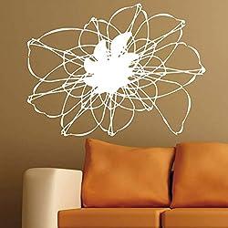 Vinilo Decorativo inspirado en el arte fractal y la espirografía. Color blanco. Medidas: 80x60cm